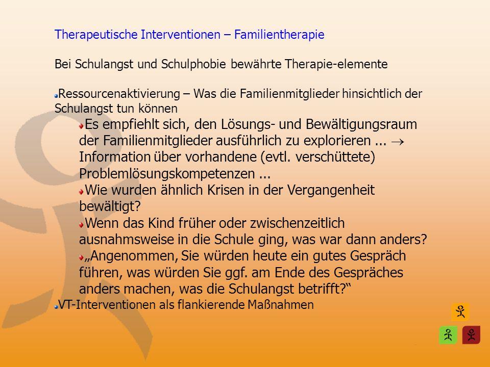 Therapeutische Interventionen – Familientherapie Bei Schulangst und Schulphobie bewährte Therapie-elemente Ressourcenaktivierung – Was die Familienmit