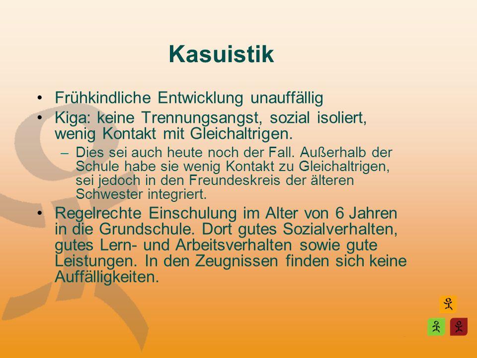 Kasuistik Frühkindliche Entwicklung unauffällig Kiga: keine Trennungsangst, sozial isoliert, wenig Kontakt mit Gleichaltrigen. –Dies sei auch heute no