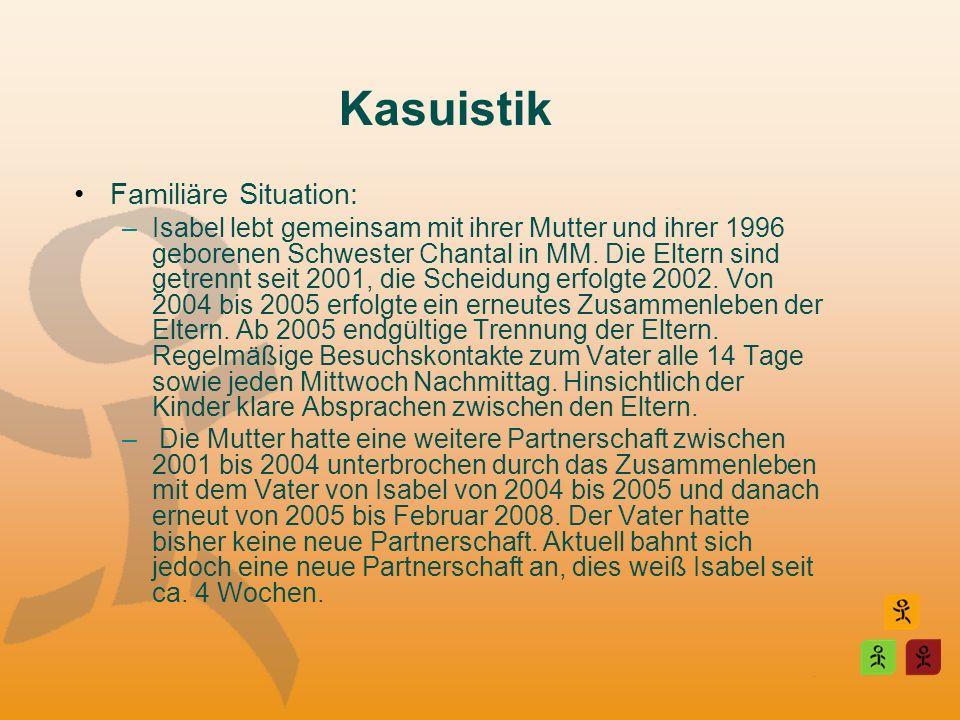 Kasuistik Familiäre Situation: –Isabel lebt gemeinsam mit ihrer Mutter und ihrer 1996 geborenen Schwester Chantal in MM. Die Eltern sind getrennt seit