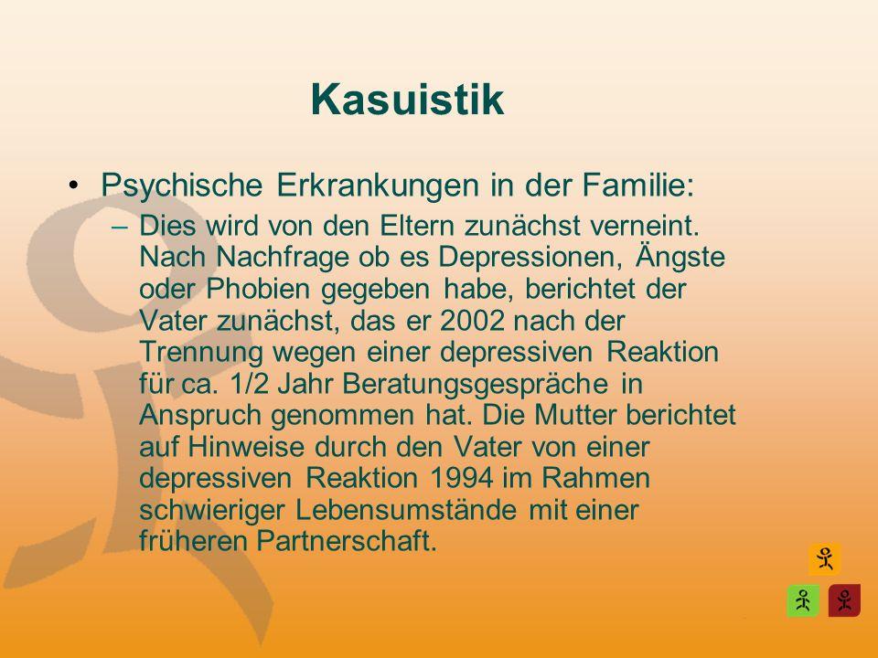 Kasuistik Psychische Erkrankungen in der Familie: –Dies wird von den Eltern zunächst verneint. Nach Nachfrage ob es Depressionen, Ängste oder Phobien