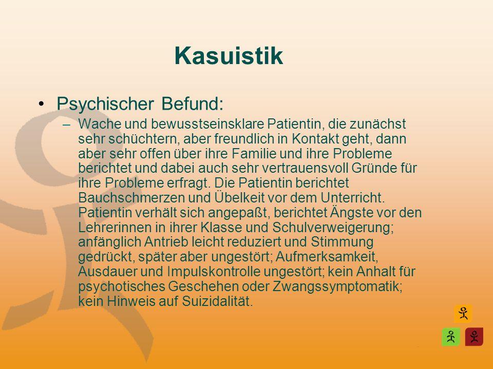 Kasuistik Psychischer Befund: –Wache und bewusstseinsklare Patientin, die zunächst sehr schüchtern, aber freundlich in Kontakt geht, dann aber sehr of