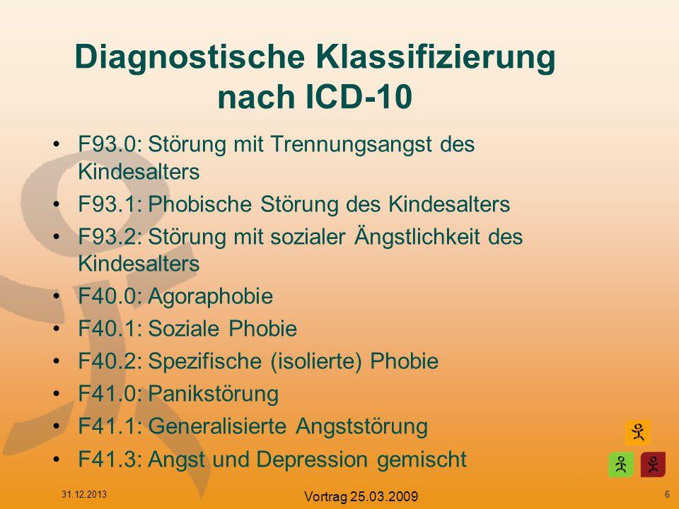 Diagnostische Klassifizierung nach ICD-10 F93.0: Störung mit Trennungsangst des Kindesalters F93.1: Phobische Störung des Kindesalters F93.2: Störung