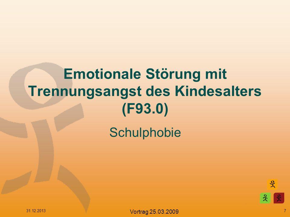 Emotionale Störung mit Trennungsangst des Kindesalters (F93.0) Unrealistische, vereinnahmende Besorgnis über mögliches Unheil, das Hauptbezugspersonen zustoßen könnte, oder Furcht, dass sie weggehen und nicht wiederkommen könnten.