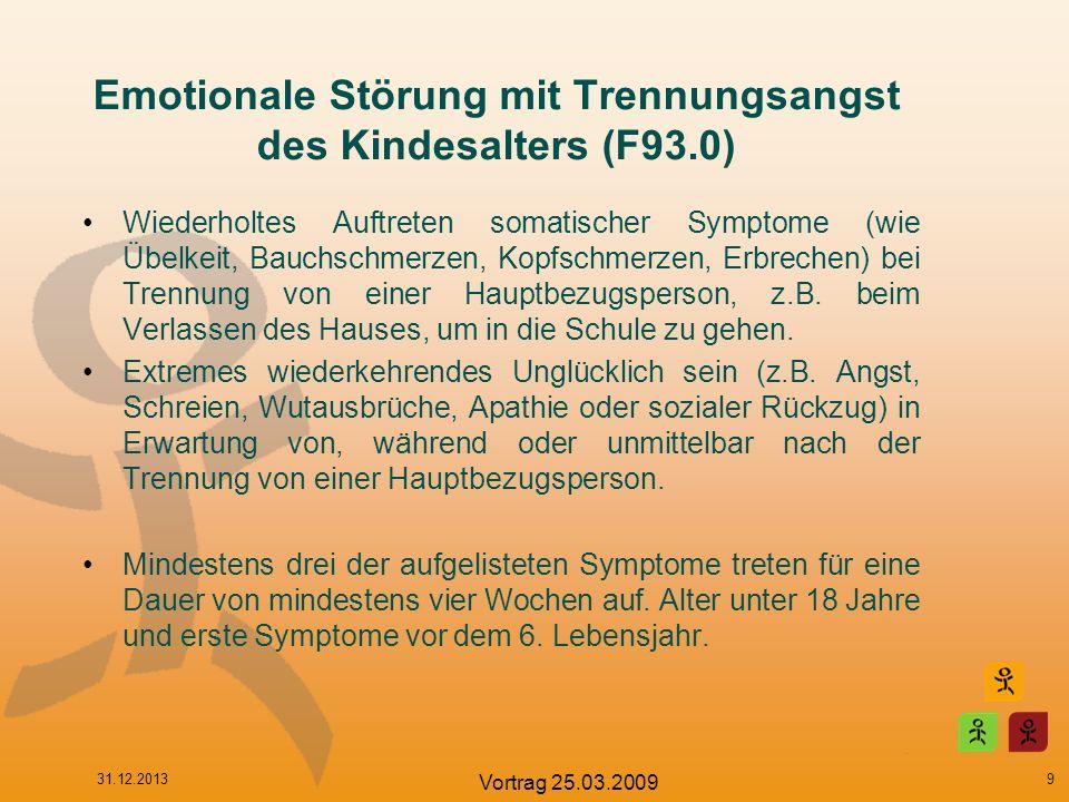 Emotionale Störung mit Trennungsangst des Kindesalters (F93.0) Wiederholtes Auftreten somatischer Symptome (wie Übelkeit, Bauchschmerzen, Kopfschmerze