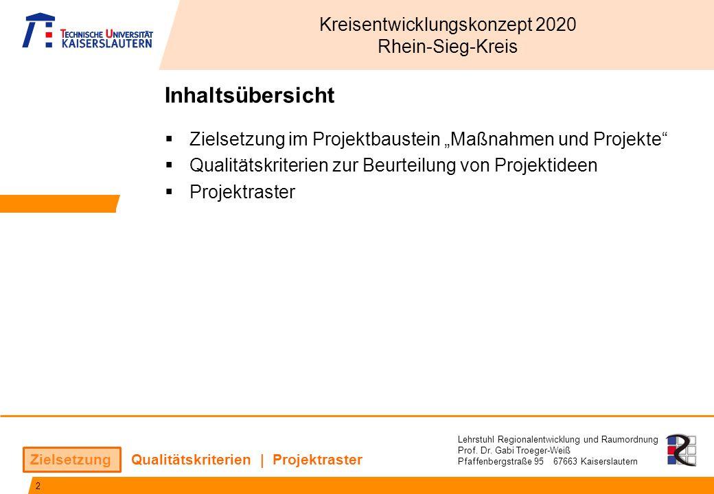 Lehrstuhl Regionalentwicklung und Raumordnung Prof. Dr. Gabi Troeger-Weiß Pfaffenbergstraße 95 67663 Kaiserslautern Zielsetzung | Qualitätskriterien |