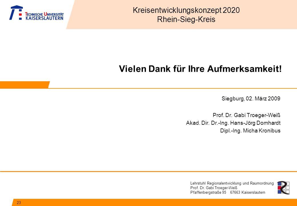 Lehrstuhl Regionalentwicklung und Raumordnung Prof. Dr. Gabi Troeger-Weiß Pfaffenbergstraße 95 67663 Kaiserslautern Vielen Dank für Ihre Aufmerksamkei