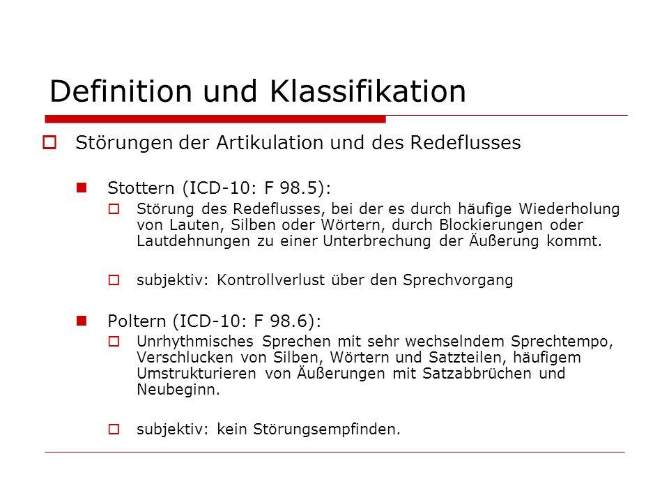 Definition und Klassifikation Störungen der Artikulation und des Redeflusses Stottern (ICD-10: F 98.5): Störung des Redeflusses, bei der es durch häuf