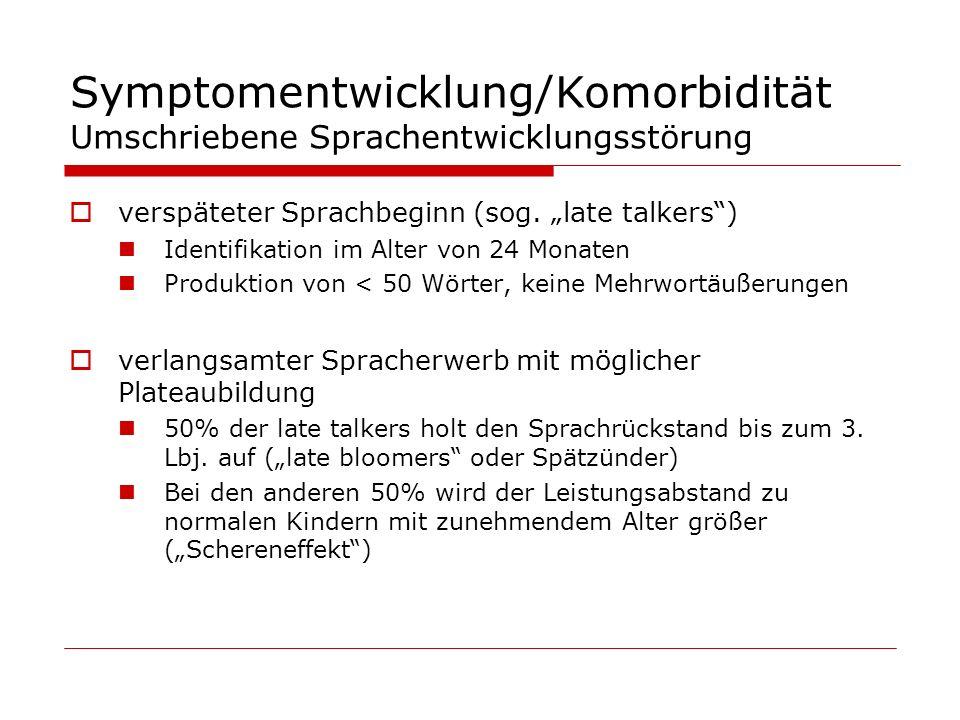 Symptomentwicklung/Komorbidität Umschriebene Sprachentwicklungsstörung verspäteter Sprachbeginn (sog. late talkers) Identifikation im Alter von 24 Mon