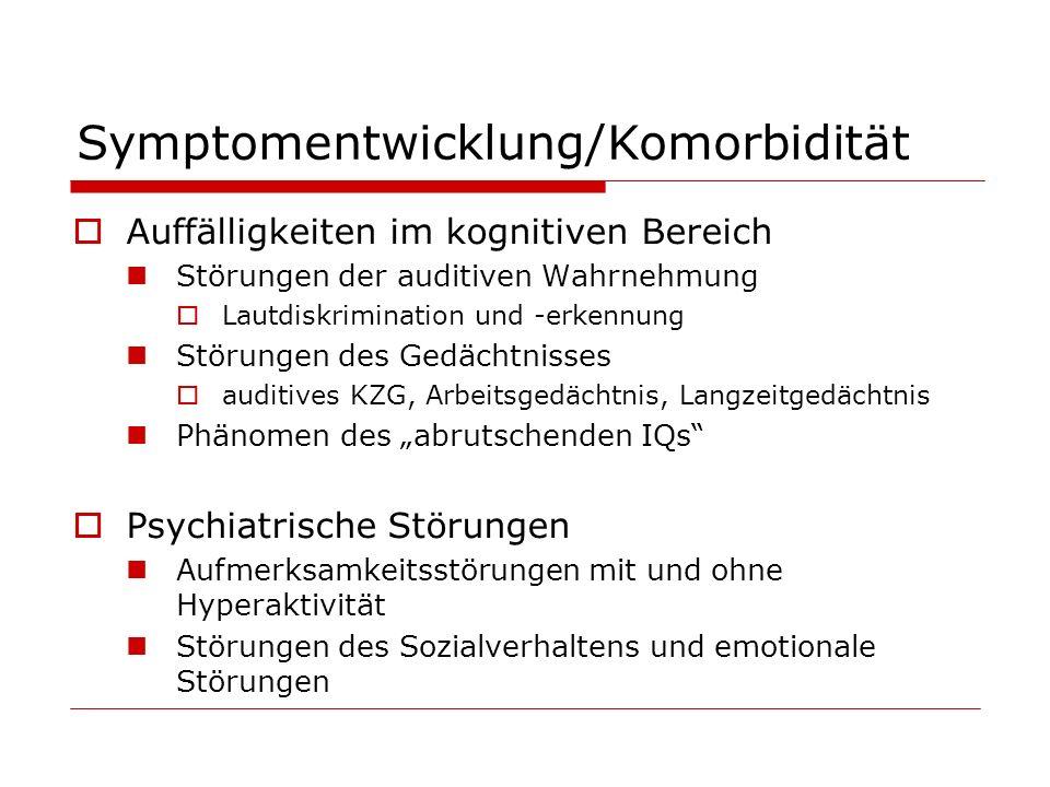 Symptomentwicklung/Komorbidität Auffälligkeiten im kognitiven Bereich Störungen der auditiven Wahrnehmung Lautdiskrimination und -erkennung Störungen
