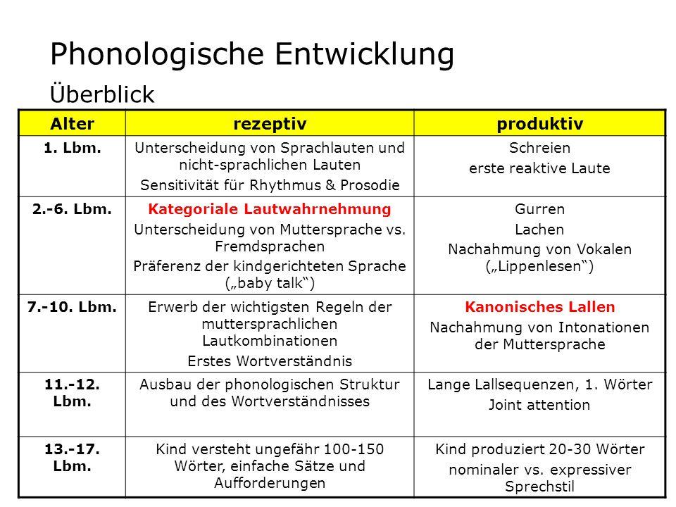 3 Hauptschritte der lexikalischen Entwicklung PhaseMerkmaleTheoretische Erklärung früher Worterwerb (ab 10.