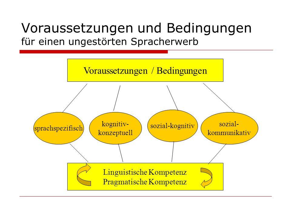Voraussetzungen und Bedingungen für einen ungestörten Spracherwerb Voraussetzungen / Bedingungen kognitiv- konzeptuell sprachspezifisch sozial-kogniti