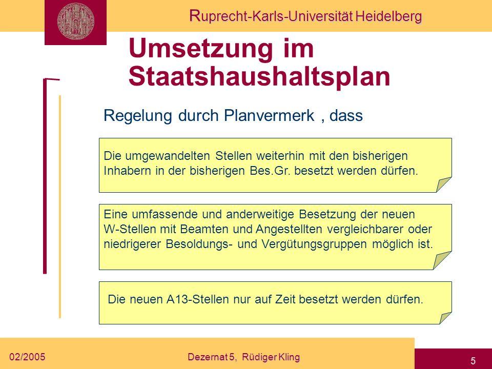 R uprecht-Karls-Universität Heidelberg 02/2005Dezernat 5, Rüdiger Kling 5 Umsetzung im Staatshaushaltsplan Regelung durch Planvermerk, dass Die umgewa