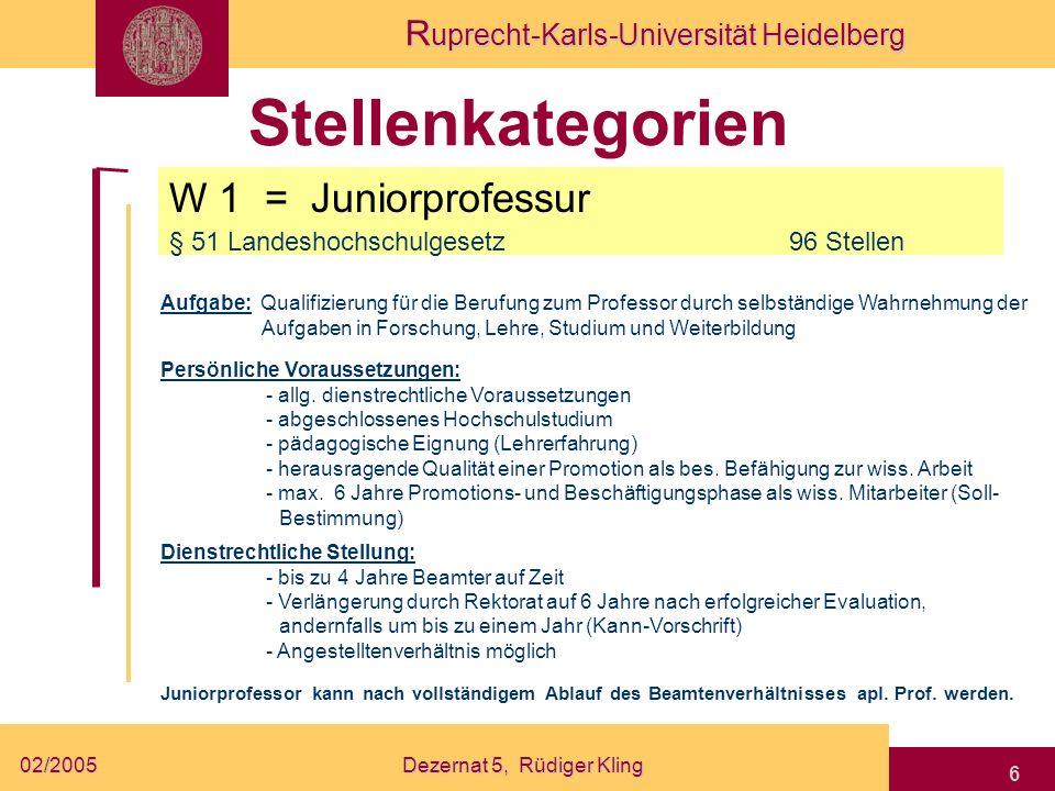 R uprecht-Karls-Universität Heidelberg 02/2005Dezernat 5, Rüdiger Kling 6 Stellenkategorien W 1 = Juniorprofessur § 51 Landeshochschulgesetz 96 Stelle