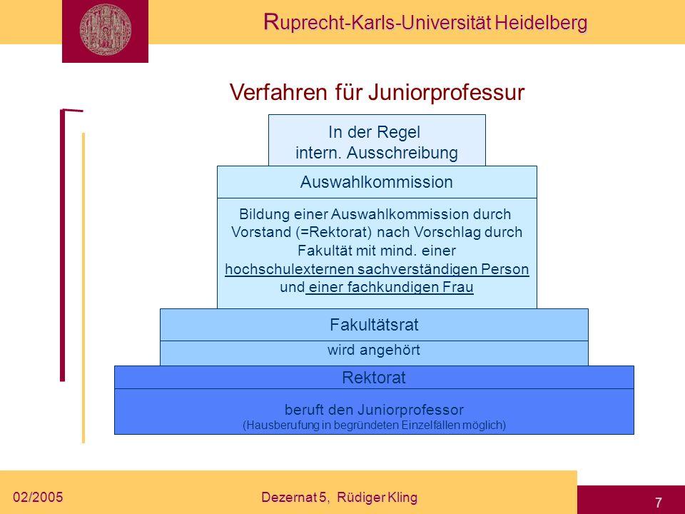 R uprecht-Karls-Universität Heidelberg 02/2005Dezernat 5, Rüdiger Kling 7 beruft den Juniorprofessor (Hausberufung in begründeten Einzelfällen möglich