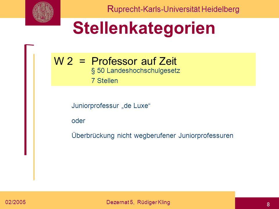 R uprecht-Karls-Universität Heidelberg 02/2005Dezernat 5, Rüdiger Kling 8 Stellenkategorien W 2 = Professor auf Zeit § 50 Landeshochschulgesetz Junior