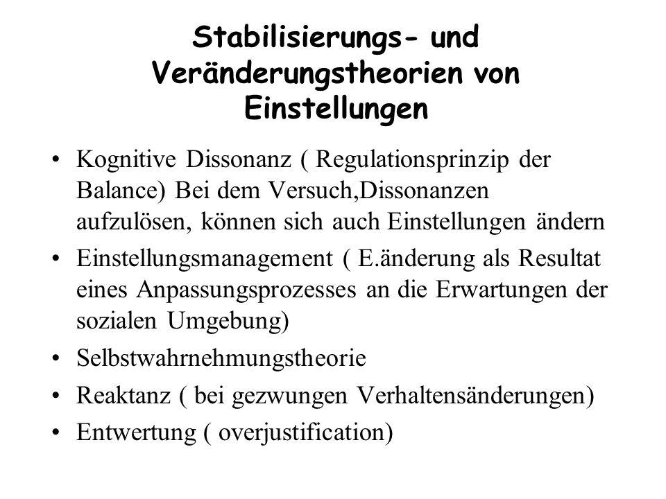 Stabilisierungs- und Veränderungstheorien von Einstellungen Kognitive Dissonanz ( Regulationsprinzip der Balance) Bei dem Versuch,Dissonanzen aufzulös