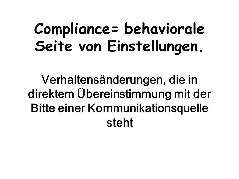 Compliance= behaviorale Seite von Einstellungen. Verhaltensänderungen, die in direktem Übereinstimmung mit der Bitte einer Kommunikationsquelle steht