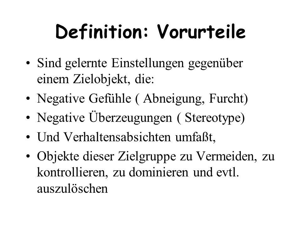 Definition: Vorurteile Sind gelernte Einstellungen gegenüber einem Zielobjekt, die: Negative Gefühle ( Abneigung, Furcht) Negative Überzeugungen ( Ste