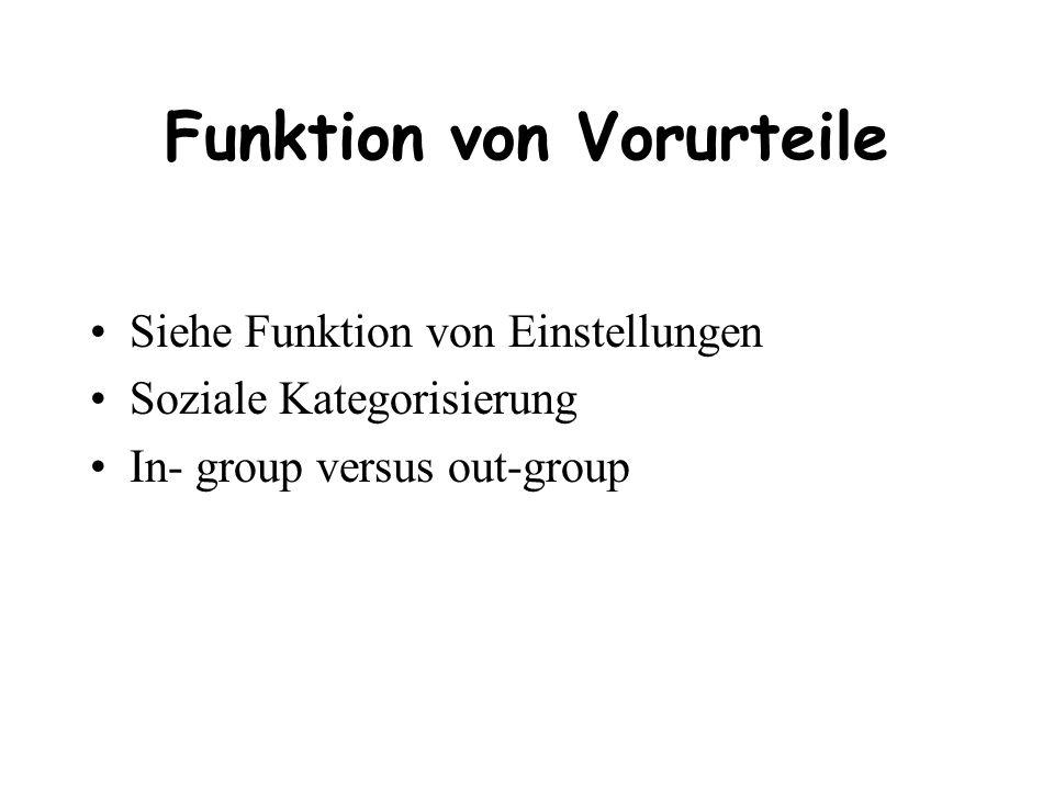 Funktion von Vorurteile Siehe Funktion von Einstellungen Soziale Kategorisierung In- group versus out-group