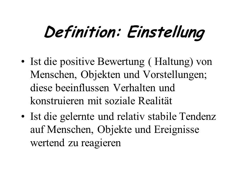 Definition: Einstellung Ist die positive Bewertung ( Haltung) von Menschen, Objekten und Vorstellungen; diese beeinflussen Verhalten und konstruieren