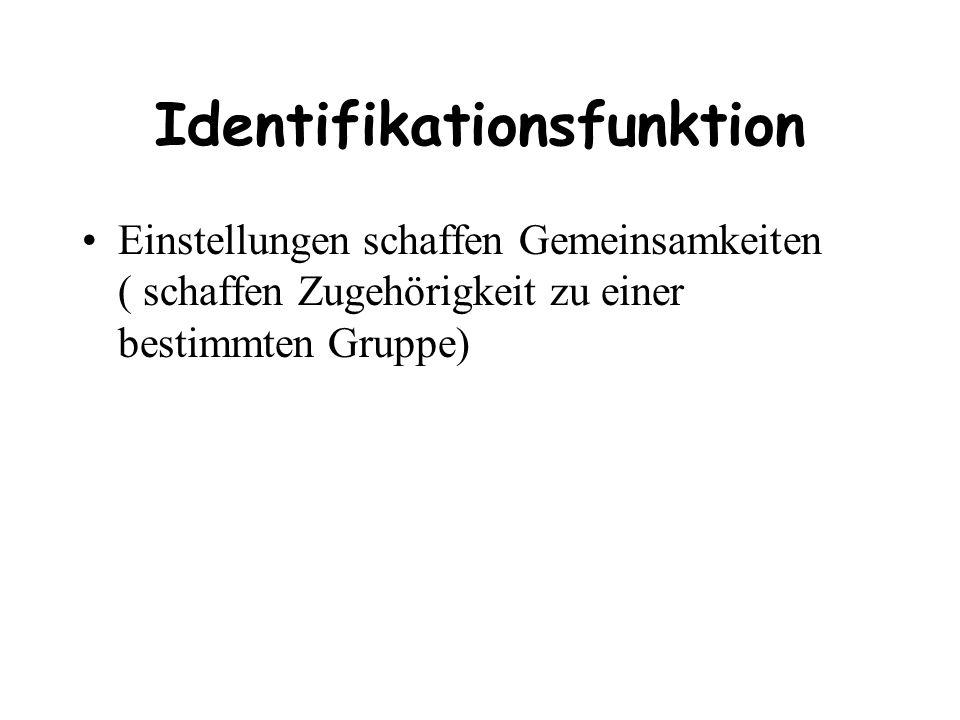 Identifikationsfunktion Einstellungen schaffen Gemeinsamkeiten ( schaffen Zugehörigkeit zu einer bestimmten Gruppe)