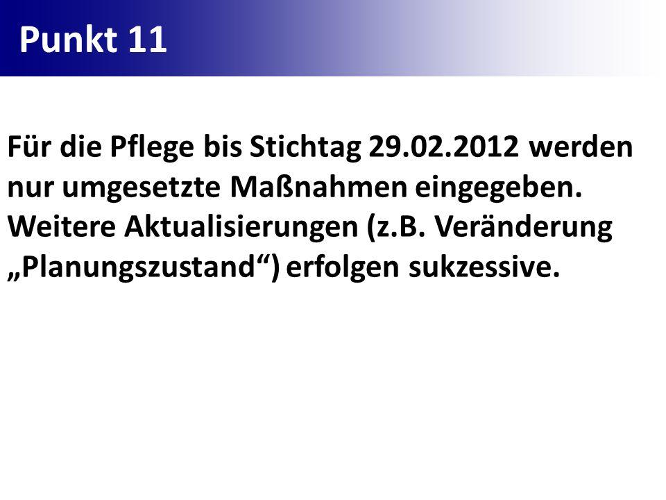 Punkt 11 Für die Pflege bis Stichtag 29.02.2012 werden nur umgesetzte Maßnahmen eingegeben. Weitere Aktualisierungen (z.B. Veränderung Planungszustand