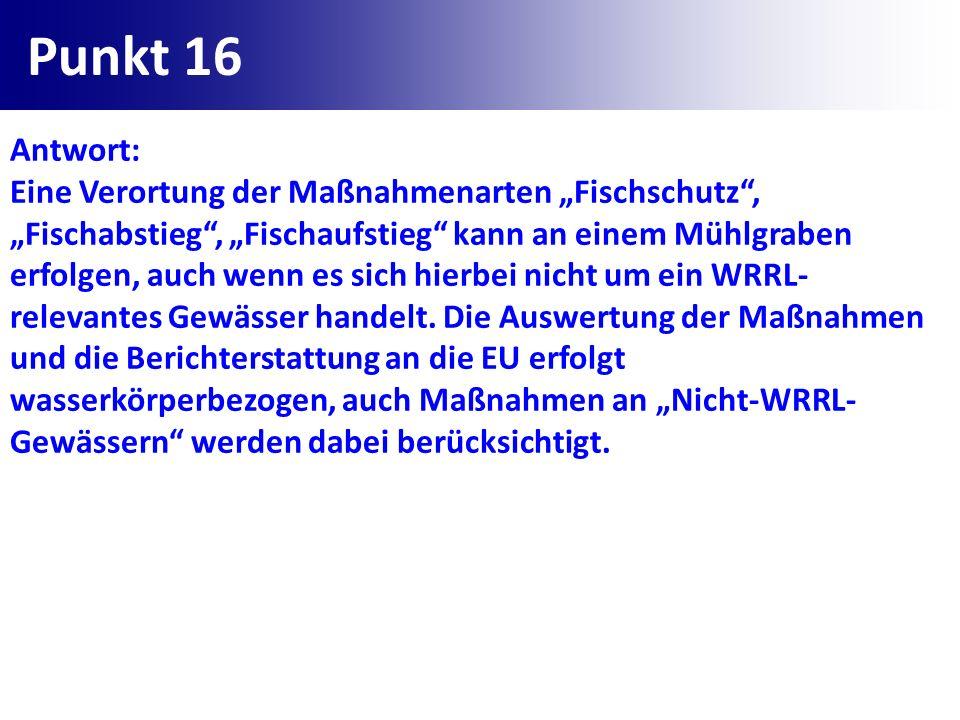 Punkt 16 Antwort: Eine Verortung der Maßnahmenarten Fischschutz, Fischabstieg, Fischaufstieg kann an einem Mühlgraben erfolgen, auch wenn es sich hier