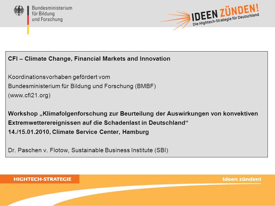 2 Climate Change, Financial Markets and Innovation (CFI): Sechs Forschungs- und Entwicklungsaufgaben (Corporate) Seed-/ Venture-Capital Forschung Fremdkapital, Versicherung Entwicklung Börse, Kapitalmärkte...