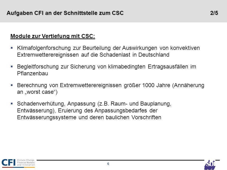 6 Aufgaben CFI an der Schnittstelle zum CSC 2/5 Module zur Vertiefung mit CSC: Klimafolgenforschung zur Beurteilung der Auswirkungen von konvektiven E
