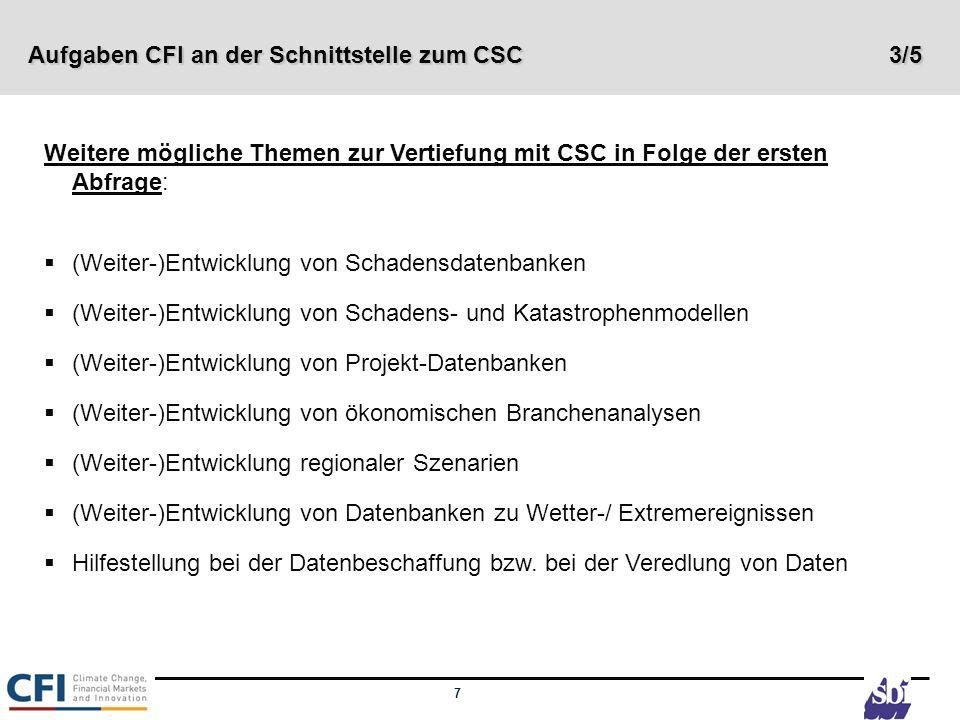 7 Weitere mögliche Themen zur Vertiefung mit CSC in Folge der ersten Abfrage: (Weiter-)Entwicklung von Schadensdatenbanken (Weiter-)Entwicklung von Sc