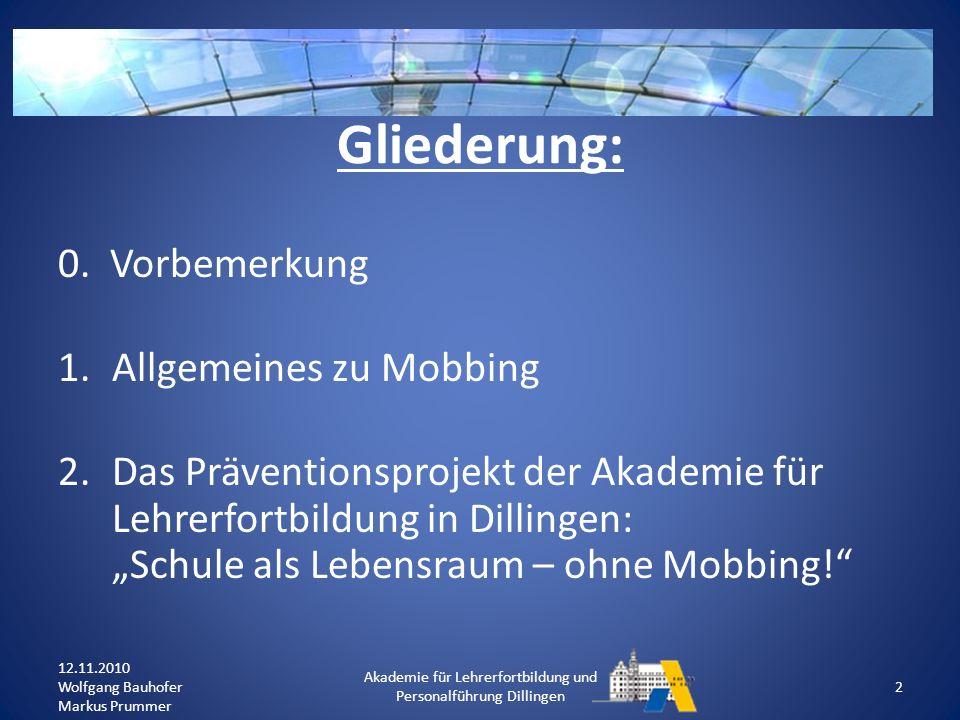 Welche Indizien (direkt/indirekt) könnten an Ihrer Schule auf Mobbing hinweisen.