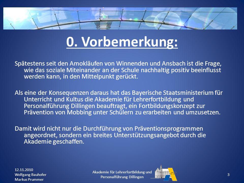 2.Das Präventionsprojekt : Schule als Lebensraum – ohne Mobbing.