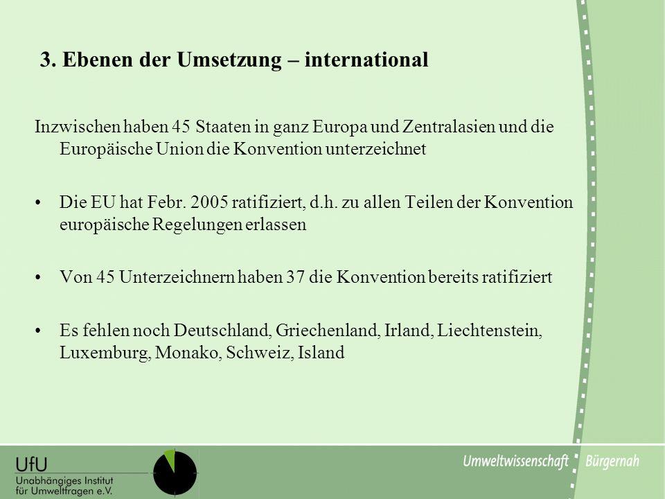 3. Ebenen der Umsetzung – international Inzwischen haben 45 Staaten in ganz Europa und Zentralasien und die Europäische Union die Konvention unterzeic