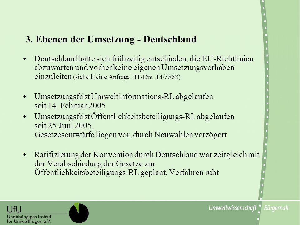 3. Ebenen der Umsetzung - Deutschland Deutschland hatte sich frühzeitig entschieden, die EU-Richtlinien abzuwarten und vorher keine eigenen Umsetzungs