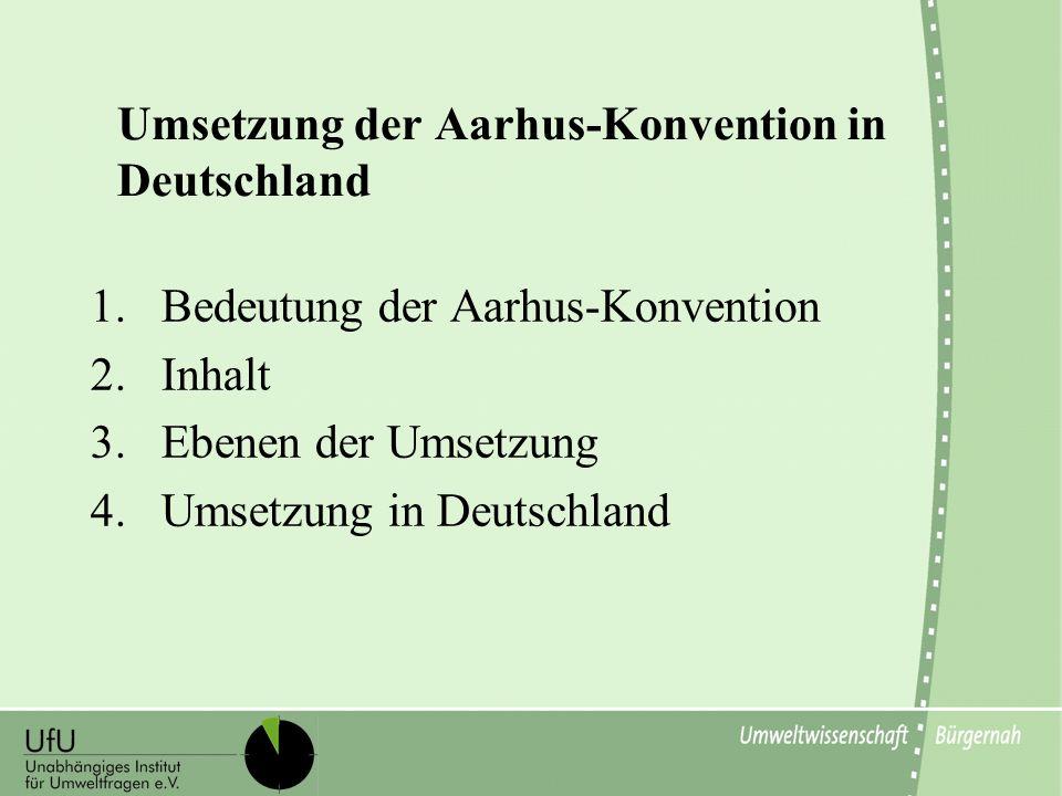 Umsetzung der Aarhus-Konvention in Deutschland 1.Bedeutung der Aarhus-Konvention 2.Inhalt 3.Ebenen der Umsetzung 4.Umsetzung in Deutschland
