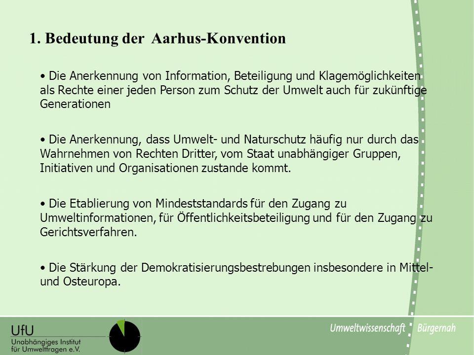 Die Anerkennung von Information, Beteiligung und Klagemöglichkeiten als Rechte einer jeden Person zum Schutz der Umwelt auch für zukünftige Generation