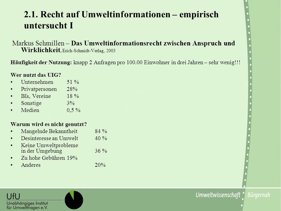 2.1. Recht auf Umweltinformationen – empirisch untersucht I Markus Schmillen – Das Umweltinformationsrecht zwischen Anspruch und Wirklichkeit, Erich-S