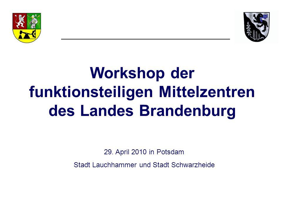 Workshop der funktionsteiligen Mittelzentren des Landes Brandenburg 29. April 2010 in Potsdam Stadt Lauchhammer und Stadt Schwarzheide