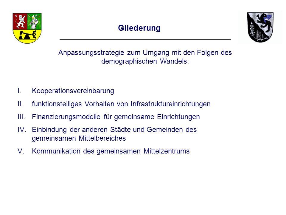 Gliederung I.Kooperationsvereinbarung II.funktionsteiliges Vorhalten von Infrastruktureinrichtungen III.Finanzierungsmodelle für gemeinsame Einrichtun