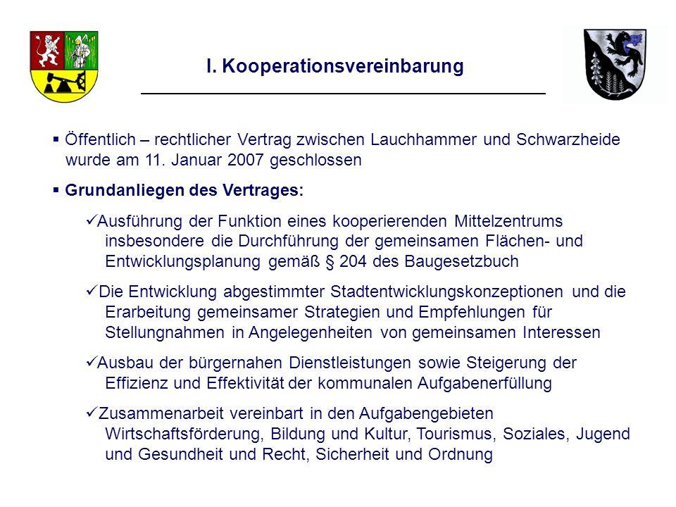 I. Kooperationsvereinbarung Öffentlich – rechtlicher Vertrag zwischen Lauchhammer und Schwarzheide wurde am 11. Januar 2007 geschlossen Grundanliegen