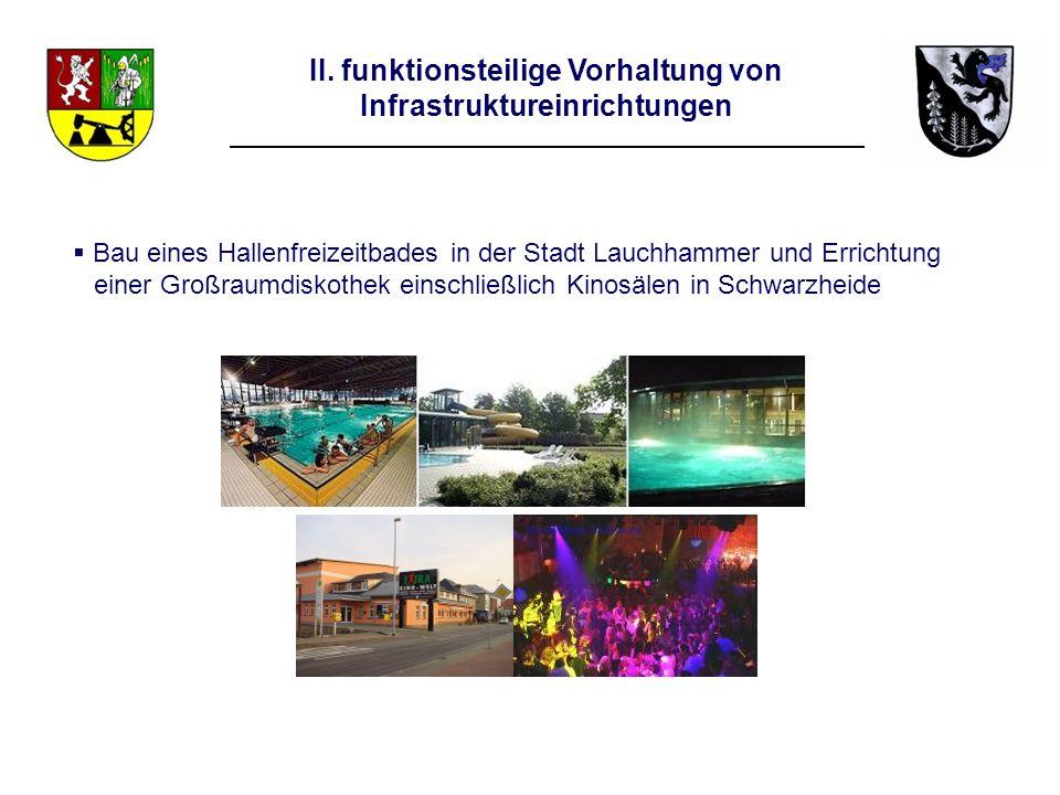 II. funktionsteilige Vorhaltung von Infrastruktureinrichtungen Bau eines Hallenfreizeitbades in der Stadt Lauchhammer und Errichtung einer Großraumdis