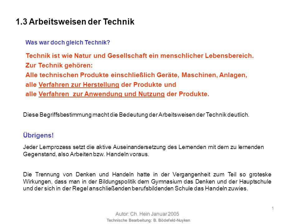 Technische Bearbeitung: B. Bödefeld-Nuyken Autor: Ch. Hein Januar 2005