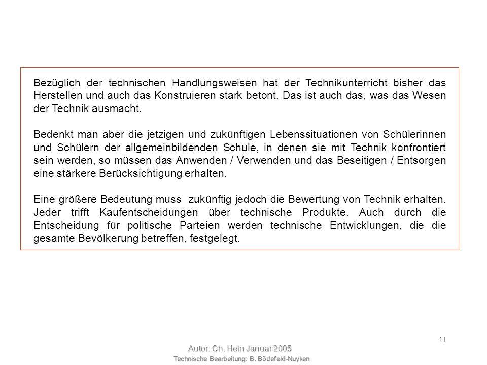 Technische Bearbeitung: B. Bödefeld-Nuyken Autor: Ch. Hein Januar 2005 10 Rückführen in denProduktionsprozess Zusammenhang zwischen den Hauptphasen, H