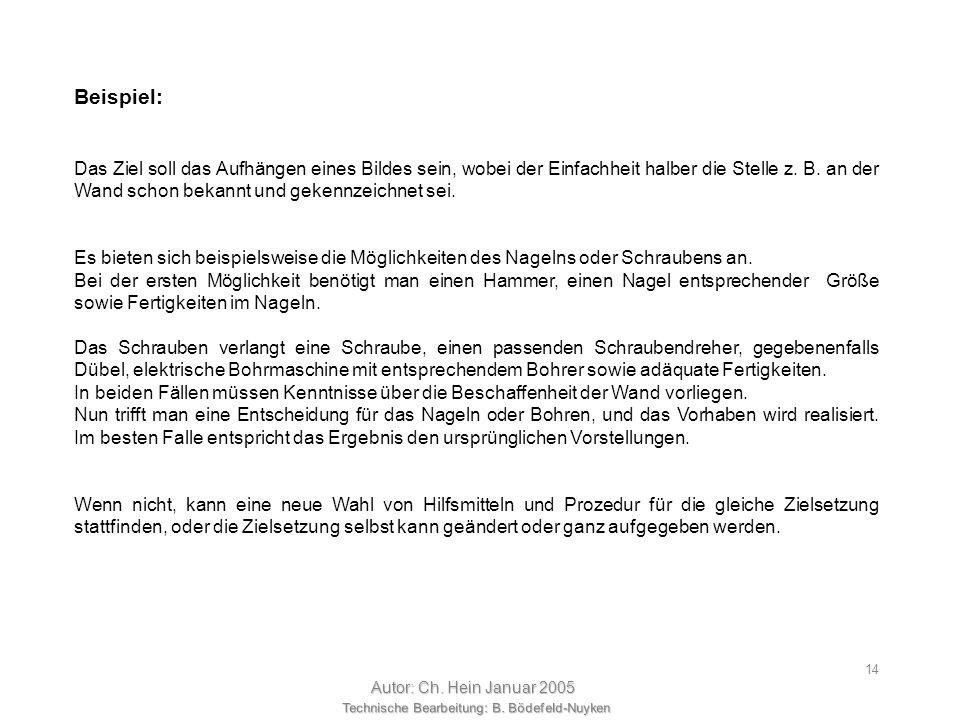 Technische Bearbeitung: B. Bödefeld-Nuyken Autor: Ch. Hein Januar 2005 13 Wie geht man grundsätzlich vor, um eine technische Aufgabenstellungen planmä