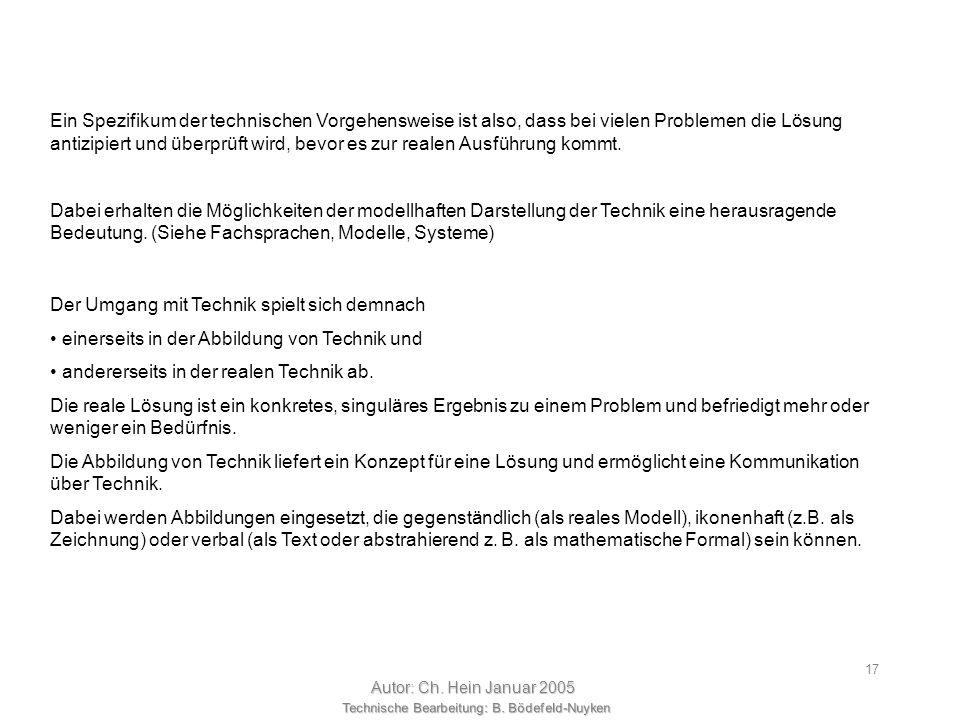 Technische Bearbeitung: B. Bödefeld-Nuyken Autor: Ch. Hein Januar 2005 16 Ergebnis antizipierend Ent- scheidung H1H1 H2H2 HnHn HiHi P1P1 P2P2 PnPn PiP