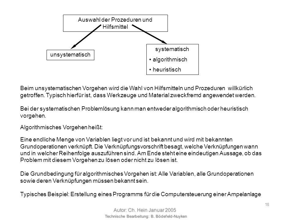 Technische Bearbeitung: B. Bödefeld-Nuyken Autor: Ch. Hein Januar 2005 17 Der Umgang mit Technik spielt sich demnach einerseits in der Abbildung von T