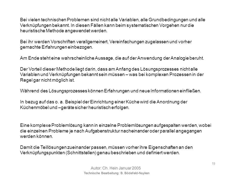 Technische Bearbeitung: B. Bödefeld-Nuyken Autor: Ch. Hein Januar 2005 18 Auswahl der Prozeduren und Hilfsmittel unsystematisch systematisch algorithm