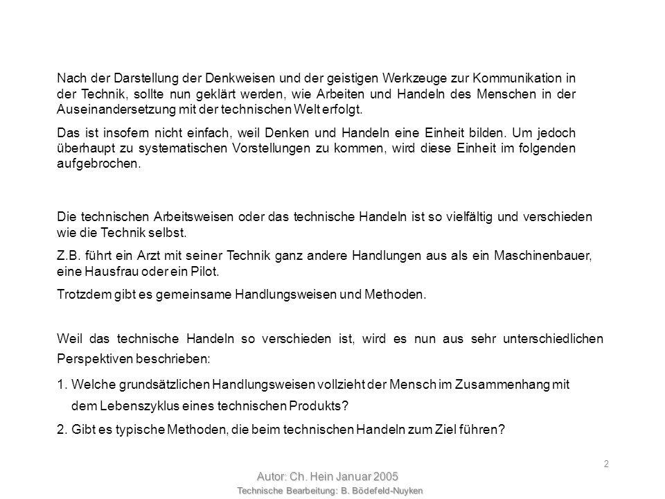 Technische Bearbeitung: B. Bödefeld-Nuyken Autor: Ch. Hein Januar 2005 1 1.3 Arbeitsweisen der Technik Was war doch gleich Technik? Technik ist wie Na
