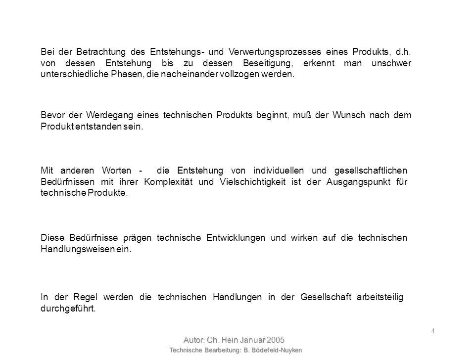 Technische Bearbeitung: B. Bödefeld-Nuyken Autor: Ch. Hein Januar 2005 24 Zielrichtung der Methoden