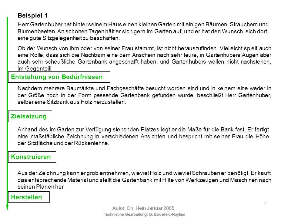 Technische Bearbeitung: B. Bödefeld-Nuyken Autor: Ch. Hein Januar 2005 4 Bevor der Werdegang eines technischen Produkts beginnt, muß der Wunsch nach d
